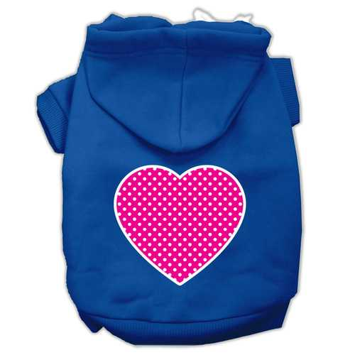 Pink Swiss Dot Heart Screen Print Pet Hoodies Blue Size XXL (18)