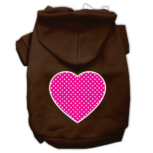 Pink Swiss Dot Heart Screen Print Pet Hoodies Brown Size XXXL (20)
