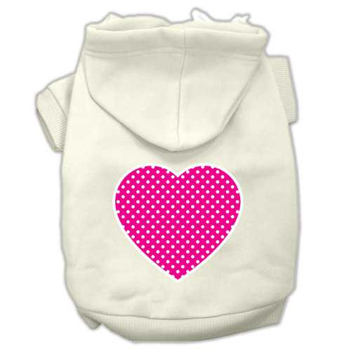 Pink Swiss Dot Heart Screen Print Pet Hoodies Cream Size XXXL(20)