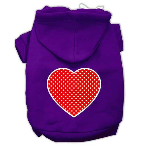 Red Swiss Dot Heart Screen Print Pet Hoodies Purple Size XXXL (20)