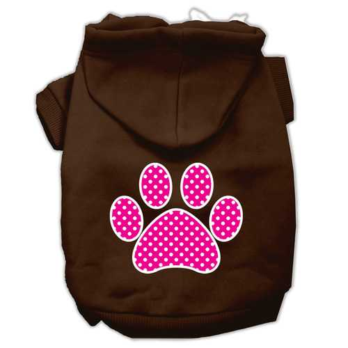 Pink Swiss Dot Paw Screen Print Pet Hoodies Brown Size Lg (14)