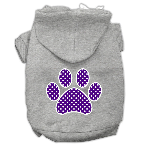 Purple Swiss Dot Paw Screen Print Pet Hoodies Grey Size XL (16)