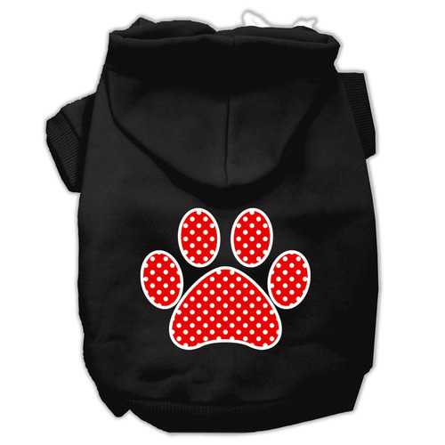 Red Swiss Dot Paw Screen Print Pet Hoodies Black Size Sm (10)
