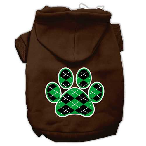 Argyle Paw Green Screen Print Pet Hoodies Brown Size Lg (14)