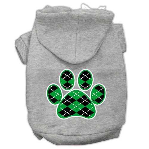 Argyle Paw Green Screen Print Pet Hoodies Grey Size XL (16)