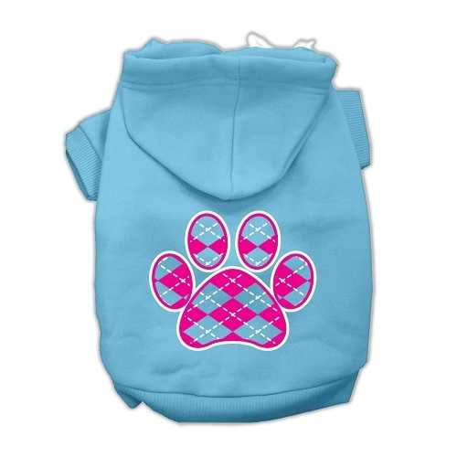 Argyle Paw Pink Screen Print Pet Hoodies Baby Blue Size XS (8)