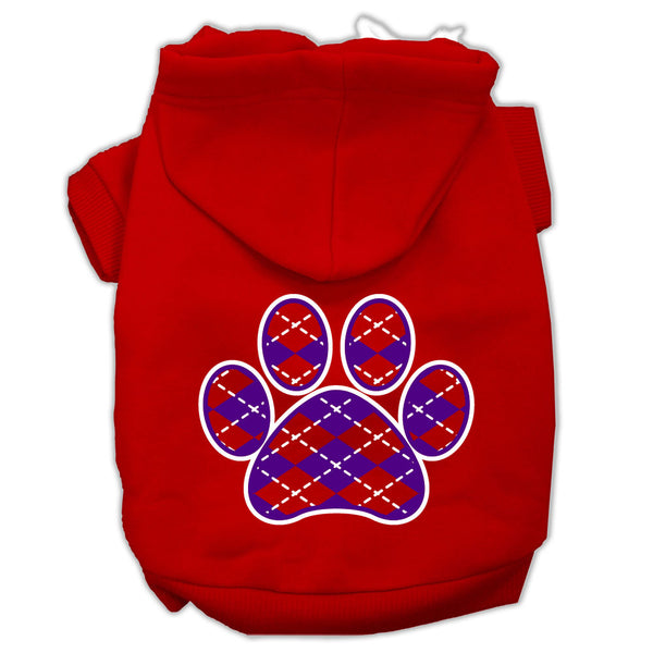 Argyle Paw Purple Screen Print Pet Hoodies Red Size Lg (14)