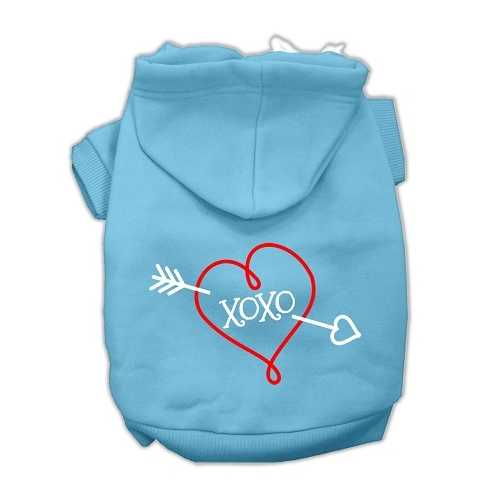 XOXO Screen Print Pet Hoodies Baby Blue Size Med (12)