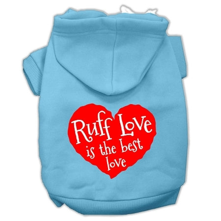 Ruff Love Screen Print Pet Hoodies Baby Blue Size Lg (14)