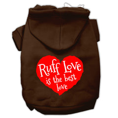 Ruff Love Screen Print Pet Hoodies Brown Size XL (16)
