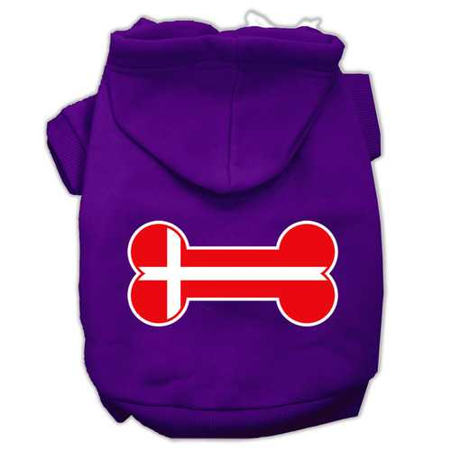 Bone Shaped Denmark Flag Screen Print Pet Hoodies Purple Size XXL (18)