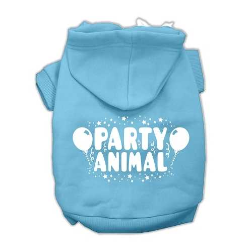 Party Animal Screen Print Pet Hoodies Baby Blue Size Sm (10)