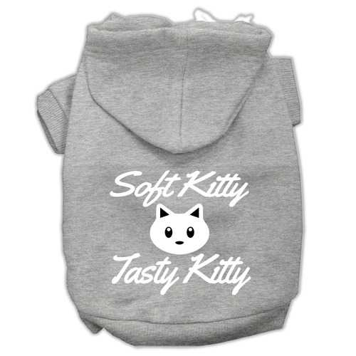 Softy Kitty, Tasty Kitty Screen Print Dog Pet Hoodies Grey Size XXL (18)