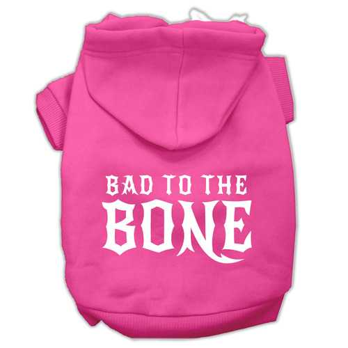 Bad to the Bone Dog Pet Hoodies Bright Pink Size Lg (14)