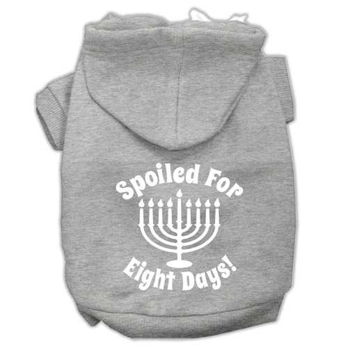 Spoiled for 8 Days Screenprint Dog Pet Hoodies Grey Size XS (8)