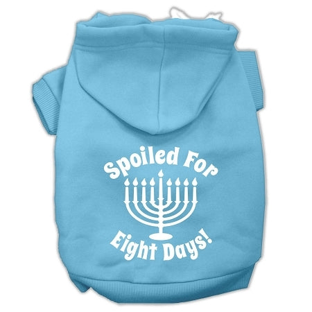 Spoiled for 8 Days Screenprint Dog Pet Hoodies Baby Blue Size XXL (18)