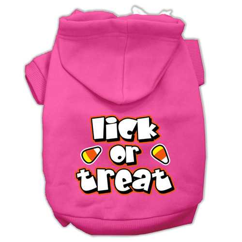 Lick Or Treat Screen Print Pet Hoodies Bright Pink Size XL (16)