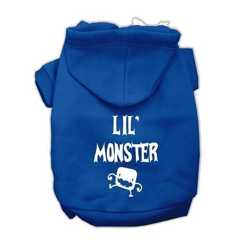 Lil Monster Screen Print Pet Hoodies Blue Size Med (12)