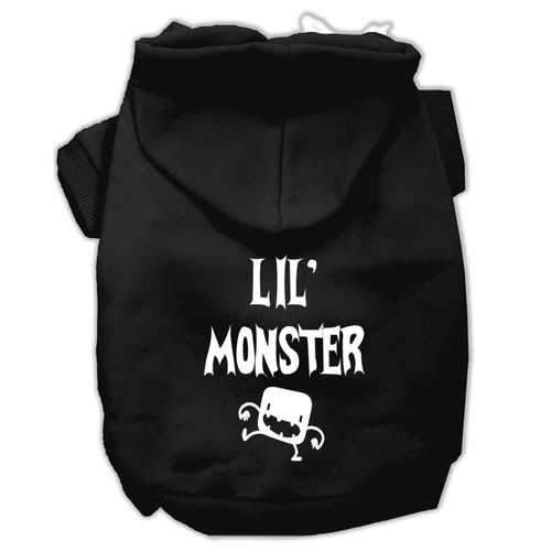 Lil Monster Screen Print Pet Hoodies Black Size Sm (10)