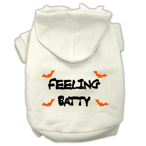 Feeling Batty Screen Print Pet Hoodies Cream Size XS (8)