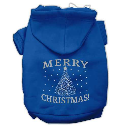 Shimmer Christmas Tree Pet Hoodies Blue Size XS (8)