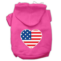 American Flag Heart Screen Print Pet Hoodies Bright Pink Size XS (8)