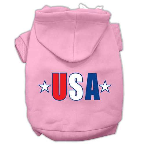 USA Star Screen Print Pet Hoodies Light Pink Size XXL (18)