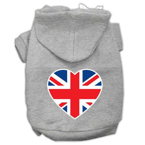 British Flag Heart Screen Print Pet Hoodies Grey Size XS (8)