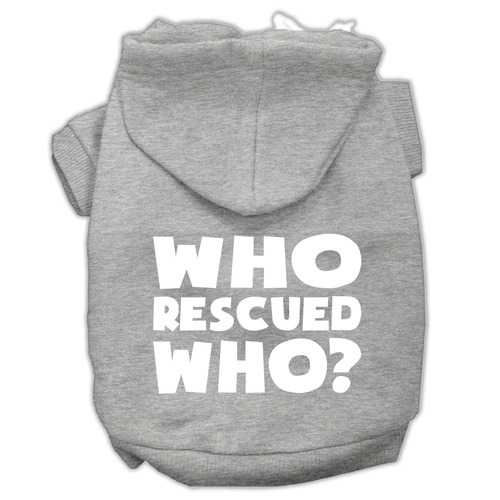 Who Rescued Who Screen Print Pet Hoodies Grey Size Med (12)