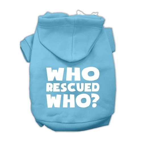 Who Rescued Who Screen Print Pet Hoodies Baby Blue Size Sm (10)