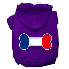 Bone Shaped France Flag Screen Print Pet Hoodies Purple Size L (14)
