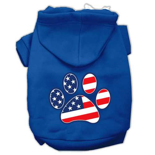 Patriotic Paw Screen Print Pet Hoodies Blue Size Lg (14)