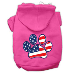 Patriotic Paw Screen Print Pet Hoodies Bright Pink Size M (12)