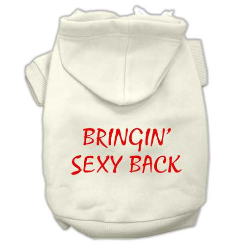 Bringin' Sexy Back Screen Print Pet Hoodies Cream Size XL (16)