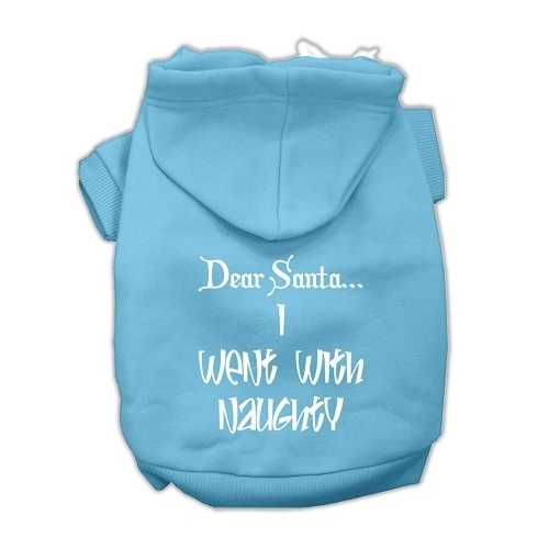 Dear Santa I Went with Naughty Screen Print Pet Hoodies Baby Blue Size XS (8)