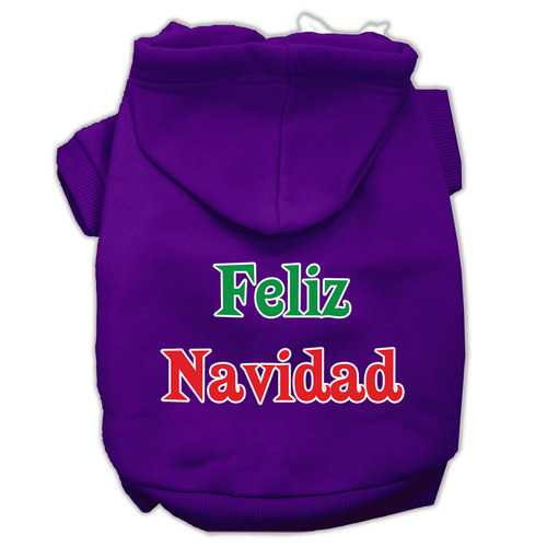 Feliz Navidad Screen Print Pet Hoodies Purple XXXL(20)