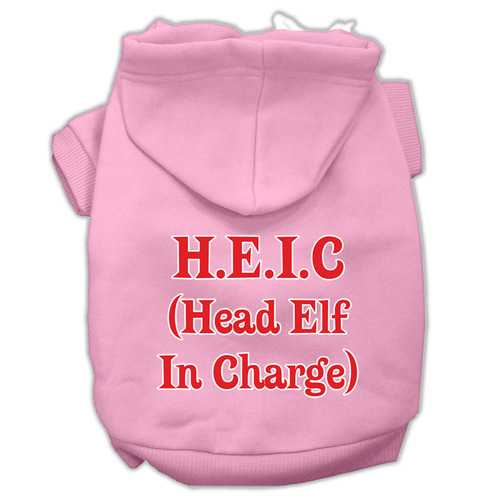 Head Elf In Charge Screen Print Pet Hoodies Light Pink Size Sm (10)