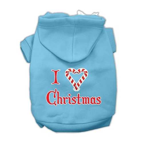 I Heart Christmas Screen Print Pet Hoodies Baby Blue Size XXL (18)