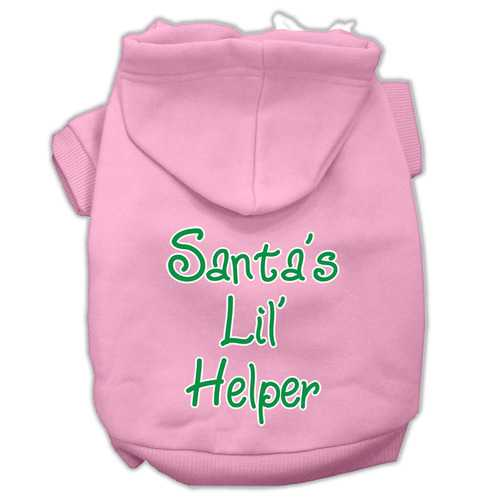 Santa's Lil' Helper Screen Print Pet Hoodies Light Pink Size Med (12)