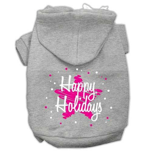 Scribble Happy Holidays Screenprint Pet Hoodies Grey Size L (14)