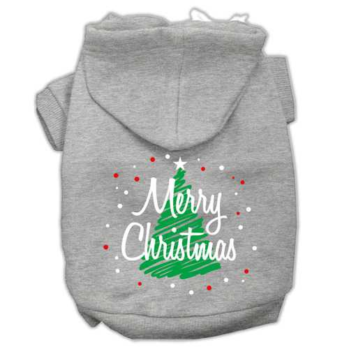 Scribbled Merry Christmas Screenprint Pet Hoodies Grey Size S (10)
