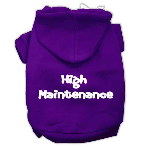 High Maintenance Screen Print Pet Hoodies Purple Size XXXL(20)