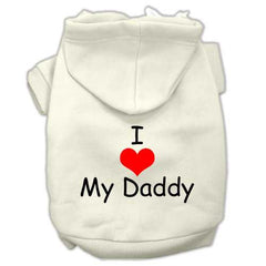 I Love My Daddy Screen Print Pet Hoodies Cream Size XXL (18)