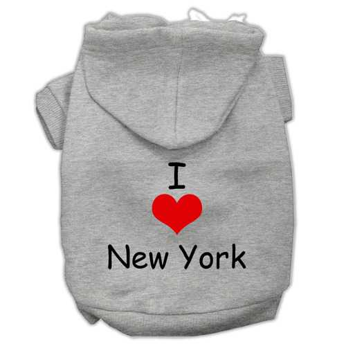 I Love New York Screen Print Pet Hoodies Grey Size Med (12)