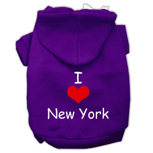 I Love New York Screen Print Pet Hoodies Purple Size XS (8)