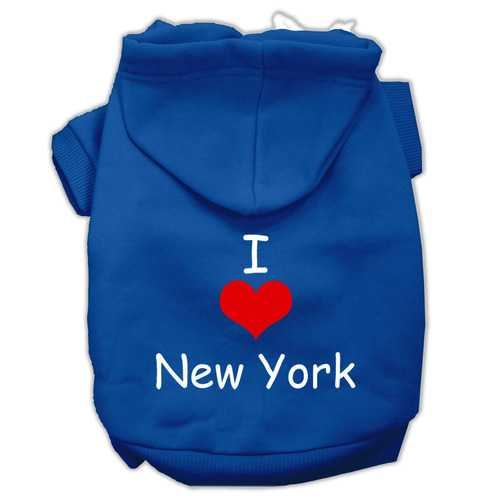 I Love New York Screen Print Pet Hoodies Blue Size XXL (18)