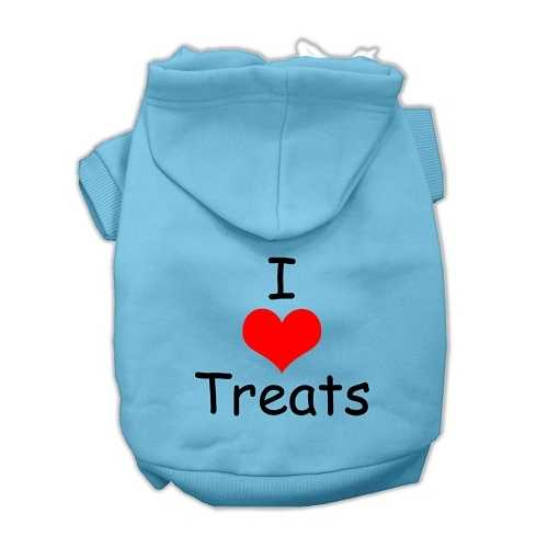 I Love Treats Screen Print Pet Hoodies Baby Blue Size XXL (18)
