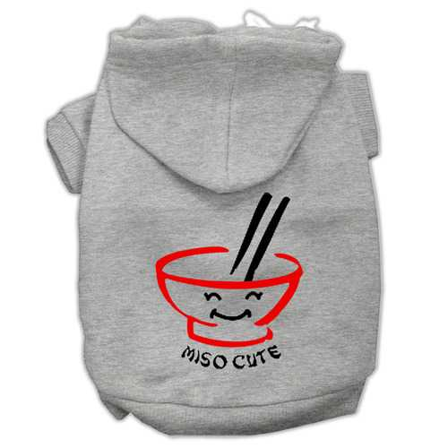 Miso Cute Screen Print Pet Hoodies Grey Size XXL (18)