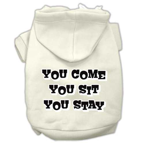 You Come, You Sit, You Stay Screen Print Pet Hoodies Cream Size XXL (18)
