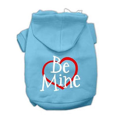 Be Mine Screen Print Pet Hoodies Baby Blue Size Sm (10)